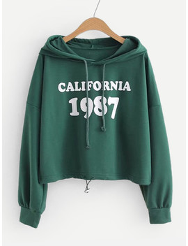 Letter Print Drop Shoulder Hoodie by Sheinside