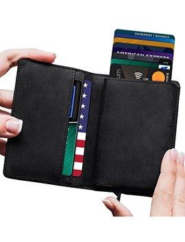 Mens Minimalist Leather Wallet Rfid Blocking| + Aluminum Card Holder Lefada Us by Lefada Us