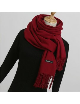 2018 Winter Scarf For Women Shawls And Wraps Fashion Solid Warmer Thick Cashmere Scarves Pashmina Lady Neck Head Stoles Bandana by Tupeluo
