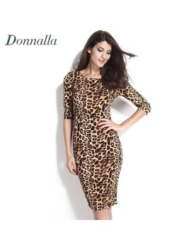 Women Bodycon Dress Long Sleeve Leopard Dress Office Lady Knee Length Work Dress Ol Midi Bandage Pencil Dresses Women Sexy Robe by Donnalla