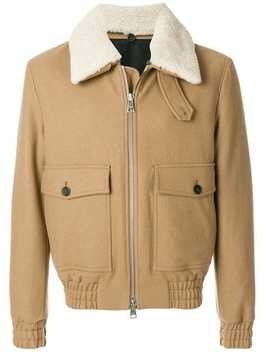 Ami Alexandre Mattiussi Shearling Collar Zipped Jackethome Men Ami Alexandre Mattiussi Clothing Bomber Jackets Turtleneck Flat Ribbed Sweater Running Lucky 9 Cropped Trousers Shearling Collar Zipped Jacket by Ami Alexandre Mattiussi