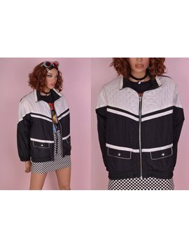 90s Black And White Windbreaker Jacket/ Medium/ 1990s by Junkkyard