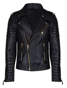 New Men Genuine Lambskin Leather Jacket Black Slim Fit Biker Motorcycle Jacket 1 by Leather Lifestyle