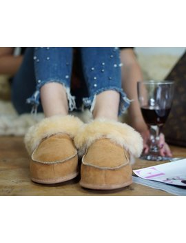 On Sale !!! Women Natural Leather, Sheepskin Shearling Slippers, Shoes Boots Very Light And Comfy! Good Gift! Genuine by Trending Slippers