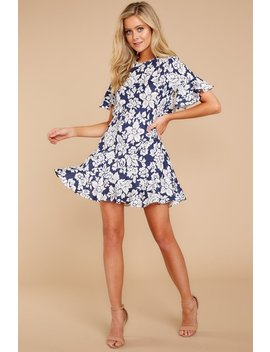 Fling For Two Navy Floral Print Dress by One And Only Collective