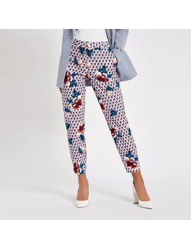 Pink Floral Print Cigarette Pants by River Island