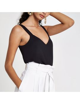 Black V Neck Thick Cami Strap Top by River Island