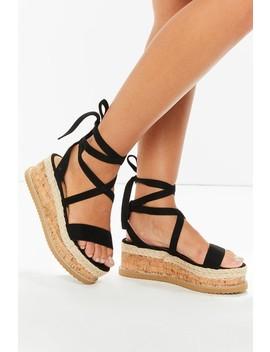 Ariella Black Suede Tie Up Espadrille Platform Sandals by Misspap