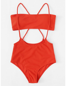 Plus Crisscross Strap Detail Ribbed Bandeau Bikini Set by Shein