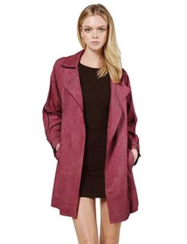 Made By Emma Mbe Women's Casual Suede Open Front Cardigan Trench Coat Jacket With Pockets by Made By Emma