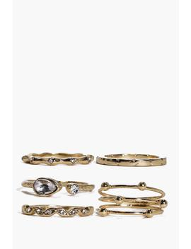 Grace Mixed Detail Ring Pack by Boohoo