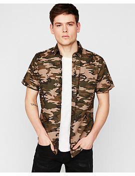 Slim Camo Short Sleeve Button Down Shirt by Express