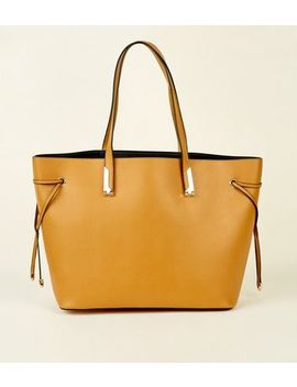 Mustard Tie Side Tote Bag by New Look