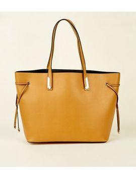 Mustard Tie Side Tote Bag by New Look