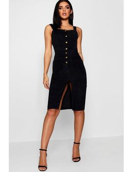 Cord Button Front Midi Pinafore Dress by Boohoo