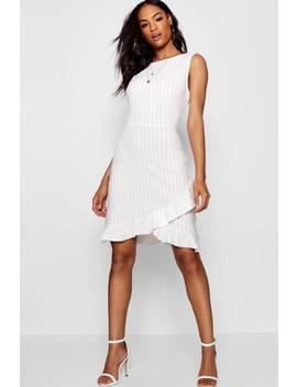 Tall Pinstripe Ruffle Dress by Boohoo