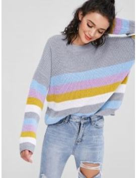 Pullover Colorful Stripes Sweater   Multi by Zaful