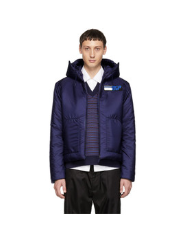 Blue Nylon Logo Jacket by Prada