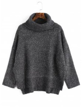 Heathered High Low Turtleneck Sweater   Deep Gray by Zaful