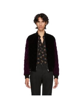 Black & Purple Velvet Quilted Bomber Jacket by Saint Laurent