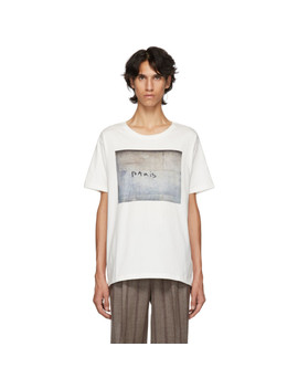 White 'paris' Printed Oversized T Shirt by Éditions M.R