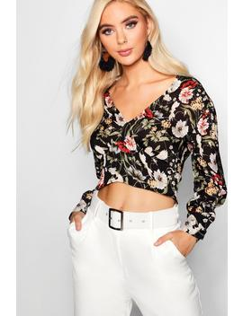 Floral Woven Crop by Boohoo