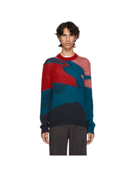 Red Multicolor Multipattern Crewneck Sweater by Ps By Paul Smith