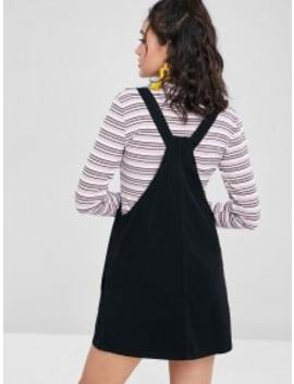 Pockets Denim Pinafore Dungaree Dress   Black S by Zaful