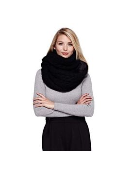 Yumi   Black Chunky Knit Snood With Faux Fur by Yumi