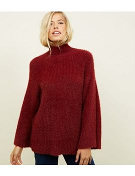 Plum Fluffy Wide Sleeve Jumper by New Look