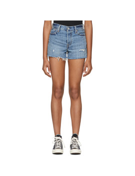 Blue Wedgie Distressed Denim Shorts by Levi's