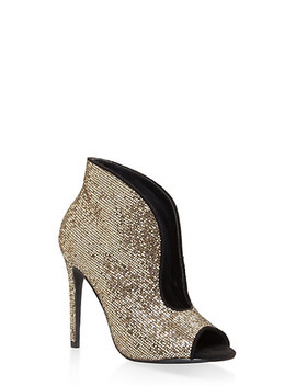 Glitter High Heel Cut Out Booties by Rainbow