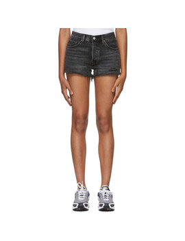 Black Distressed 501 Denim Shorts by Levi's