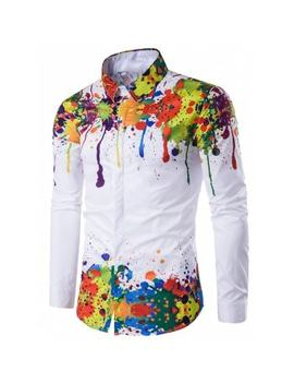 "<P>Turndown Collar Colorful Splatter Paint Pattern Long Sleeve Shirt</P><I Class=""Icon Down Js Tap Up Down""></I> by Dress Lily"