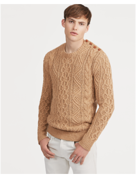Cable Knit Merino Wool Sweater by Ralph Lauren