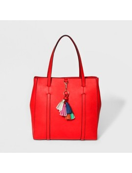 Cesca Large Tote Handbag With Tassel Detailing   Red by Shop All Cesca
