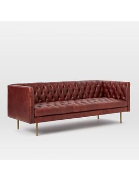 "Modern Chesterfield 79""Sofa, Charme Leather, Oxblood, Brass Legs by West Elm"