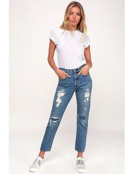 501 Skinny Light Wash Distressed Jeans by Lulu's