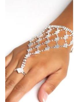 Sandra Rhinestone Hand Chain   Silver by Fashion Nova