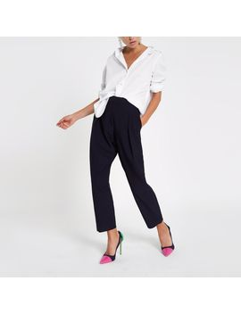 Navy Pleated Peg Pants by River Island