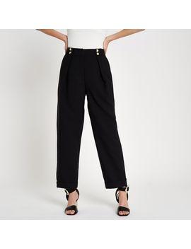 Black Button Peg Pants by River Island