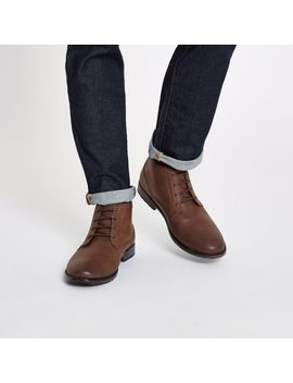 Dark Brown Lace Up Chukka Boot by River Island