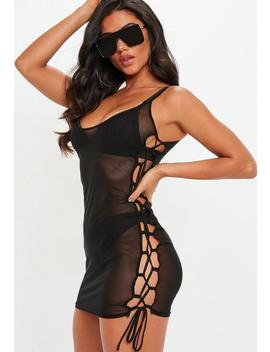 Black Lace Up Side Mini Dress Cover Up by Missguided