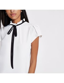 Cream High Tie Neck Short Sleeve Top by River Island