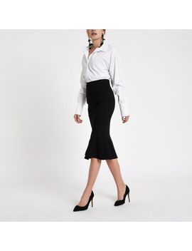 Black Peplum Hem Pencil Skirt by River Island