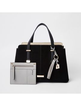 Black Triple Compartment Tote Bag by River Island