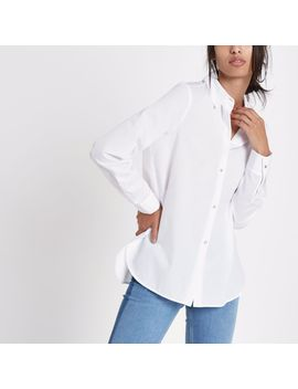 White Rhinestone Embellished Button Shirt by River Island