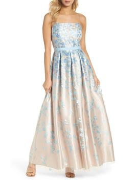 Floral Embroidered Box Pleat Ballgown by Eliza J