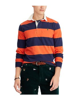 Iconic Stripe Rugby Long Sleeve Polo Shirt by Generic