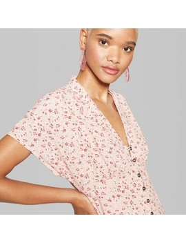 Women's Floral Short Sleeve Collared Button Down Dress   Wild Fable™ Blush by Shop All Wild Fable™